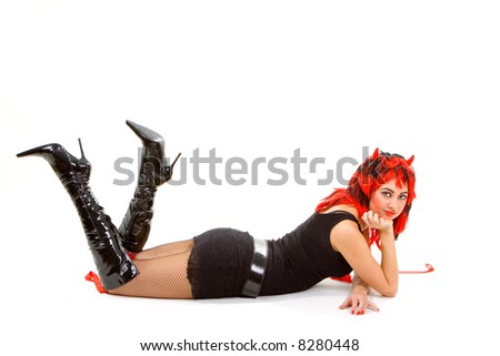 sexy devil woman isolated on the white background
