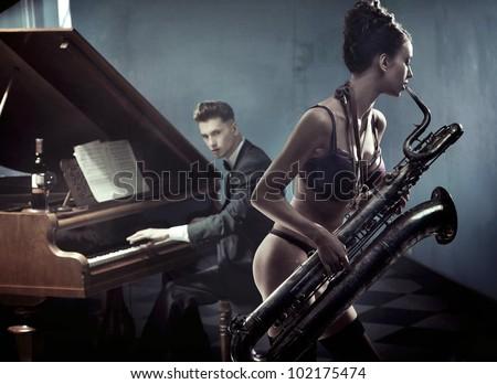 Sexy duet - stock photo