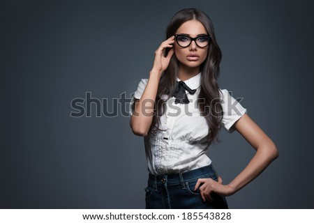Sexy elegant woman in glasses - stock photo