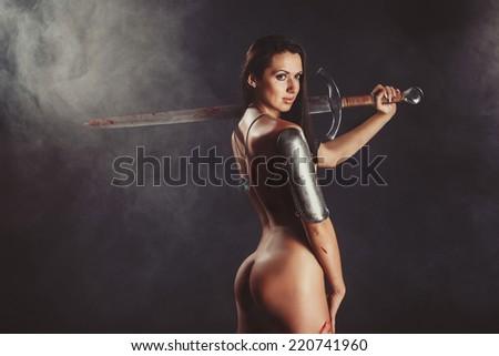 Sexy Fantasy Warrior Woman - stock photo