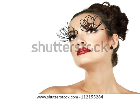 sexy fashion girl with decorative eyelashes and red lipstick, isolated - stock photo