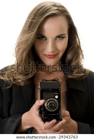 Sexy Fashion Model with Antique Folding Camera. - stock photo