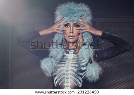 Sexy fashion woman in modern dress - stock photo