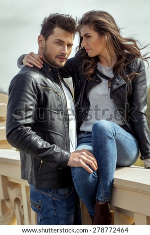 Sexy fashionable couple  - stock photo