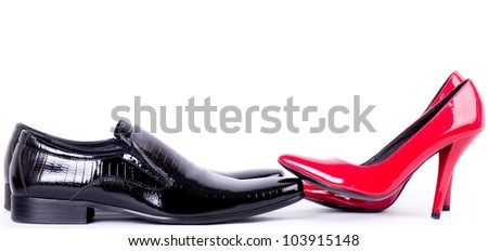 Sexy fashionable man's and womanish shoes - stock photo