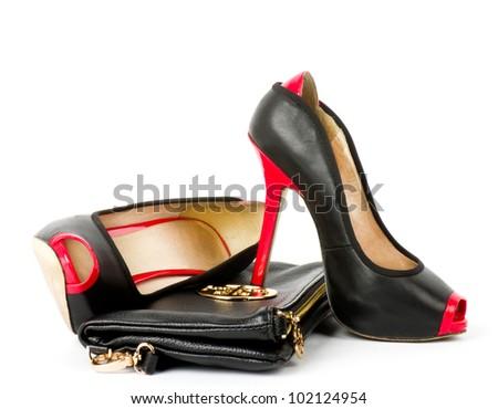 Sexy fashionable shoe and handbag isolated on white background - stock photo