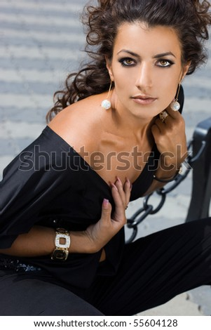 Sexy fashionable woman in the street - stock photo