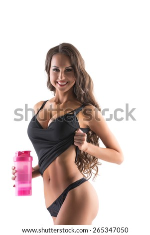 Sexy female athlete showing her perfect body - stock photo