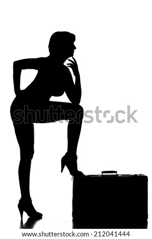 sexy female figure girl woman silhouette black shadow pose travel suitcase move - stock photo