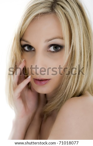 Sexy female model in the studio on white background