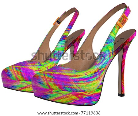 Sexy female swirly multi color high-heeled stiletto slingbacks shoes sandals  (fake brand)