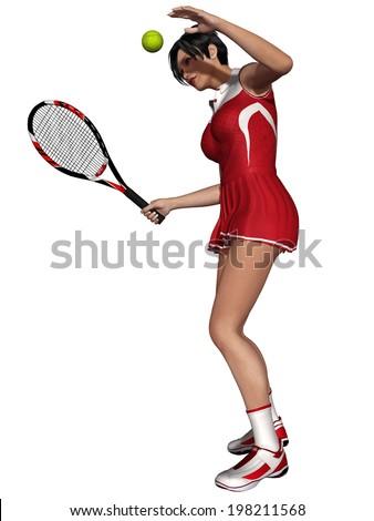 Sexy Female Tennis Player - stock photo