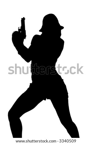 Sexy gangster girl in a brocade corset top, black fedora, and shorts with a 45 caliber pistol
