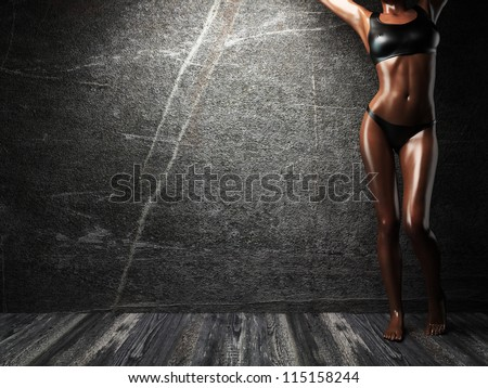 sexy girl and the wall - stock photo