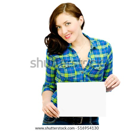 sexy girl holding a sheet of paper on a white background