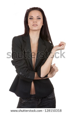 Sexy girl in a jacket isolated on white - stock photo