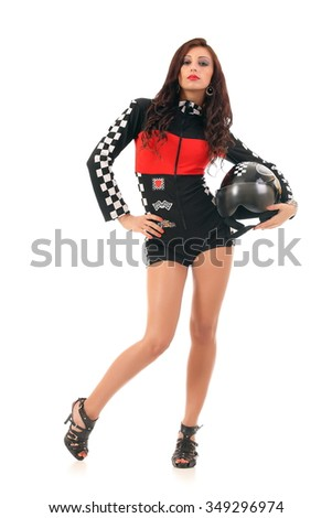 Sexy girl in a racing suit. On a white background - stock photo