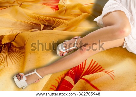 Sexy girl in a white summer dress. Fashionable young woman in beautiful dress posing. Beautiful woman with elegant white dress. Fashion photo - stock photo