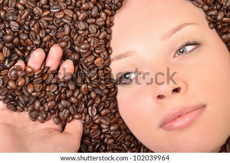 sexy girl in coffee beans - stock photo