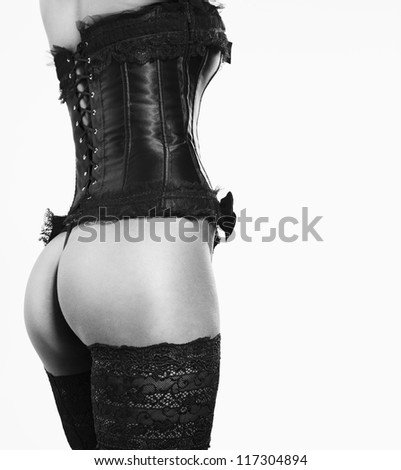 sexy girl in Corsets and Stockings - stock photo