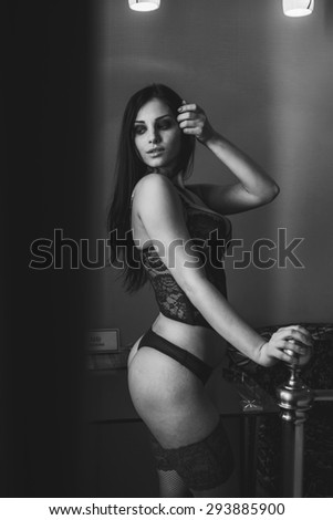 sexy girl in lingerie Interior - stock photo