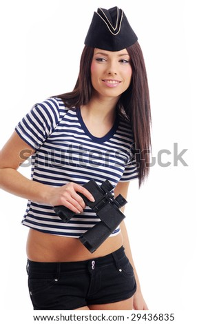Sexy girl in marine uniform holding binocular