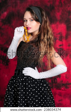 Sexy girl in vintage dress - stock photo