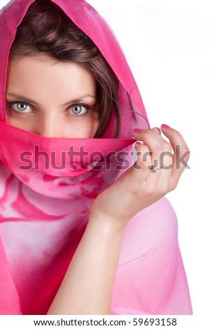Sexy girl is posing in paranja - stock photo