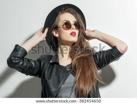 Sexy girl is posing with joy - stock photo