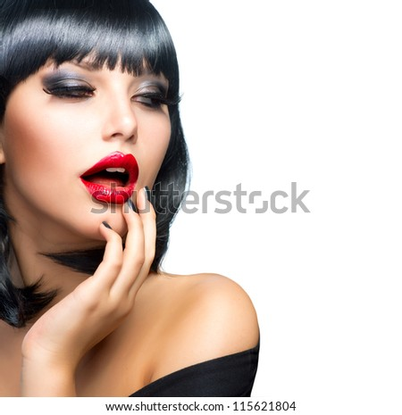 Sexy Girl isolated on a White Background.Hot Brunette. - stock photo