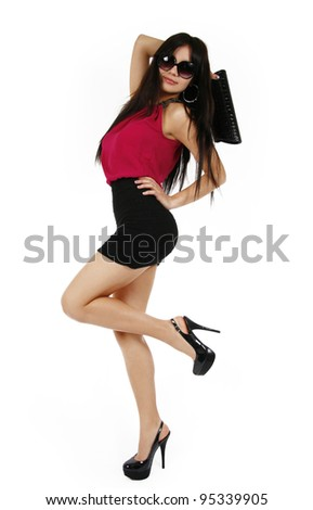 sexy girl isolated on white - stock photo