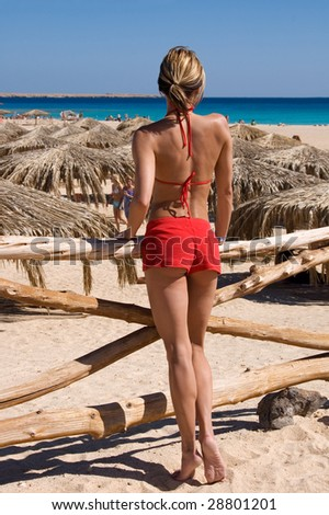Sexy girl on the beach - stock photo