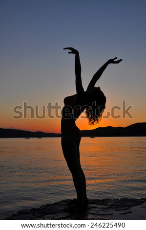 Sexy girl posing in Hawaii at sunset on the beach - stock photo
