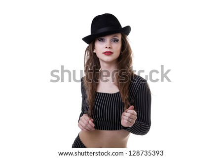 Sexy girl wearing a hat isolated on white background studio shot