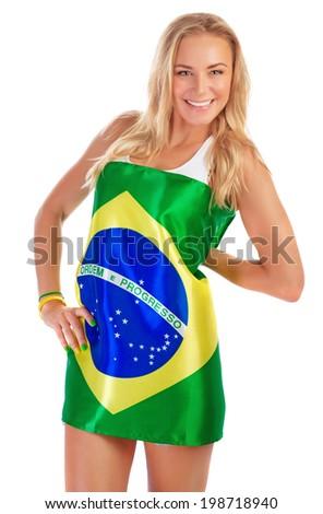 Sexy girl wearing Brazil flag, isolated on white background, Brazilian football team fan. - stock photo
