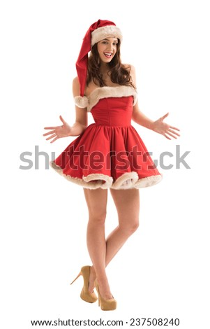 Sexy girl wearing Santa Claus clothes - stock photo