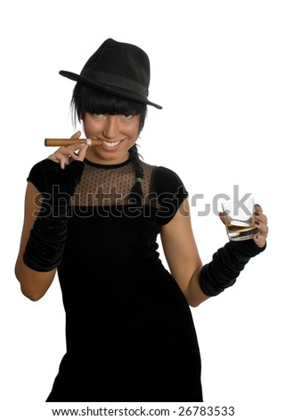 sexy girl with cigar and whisky isolated over white with clipping path