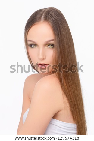sexy girl with long hair posing on white background