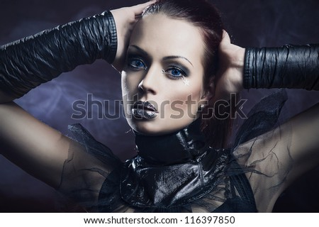 Sexy girl with silver lips - stock photo