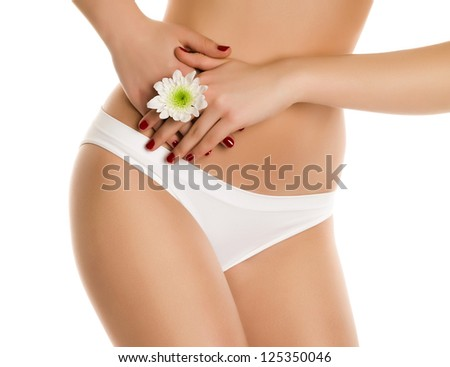 Sexy girl with white  flower on white