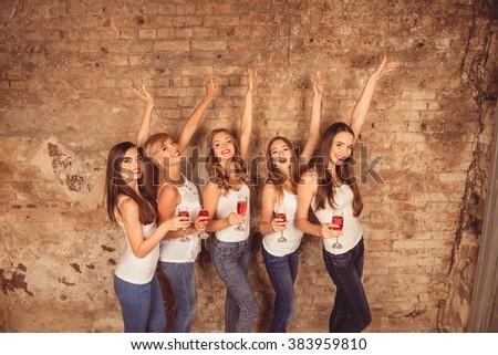 Sexy girls celebrate a bachelorette party of bride - stock photo