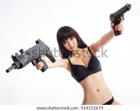 sexy gun girl asian style xxx - stock photo