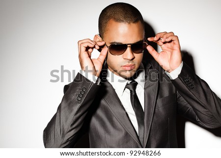 Sexy guy posing for magazine - stock photo