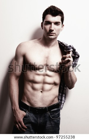 Sexy Handsome Man with Six Pack Abs