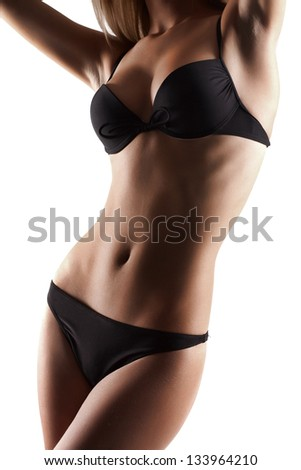 sexy hot woman in black lingerie isolated on white background - stock photo