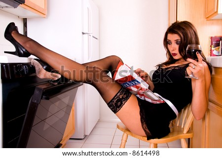 Sexy house wife. - stock photo