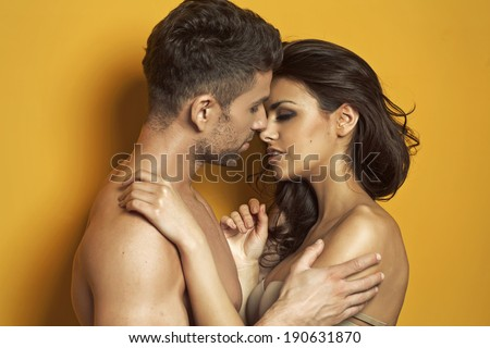 Sexy kissing couple - stock photo