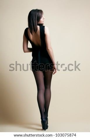 sexy lady in black dress - stock photo