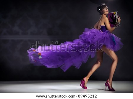 Sexy lady in gorgeous dress - stock photo