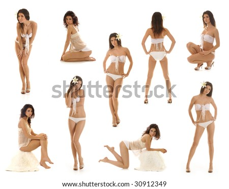 Sexy lady wearing swimsuit isolated on white - stock photo